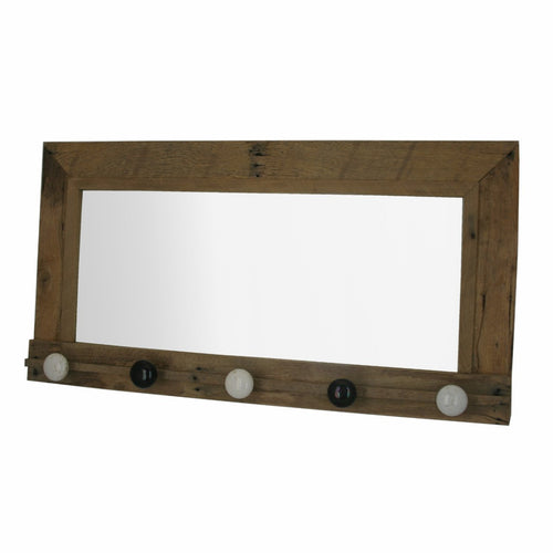 Coat rack with mirror and door knobs