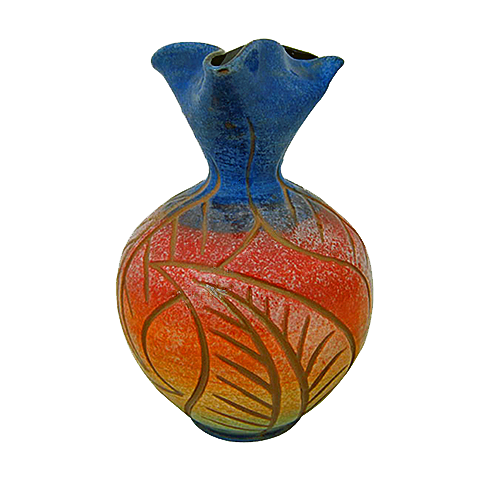 Blue Top Heart Vase