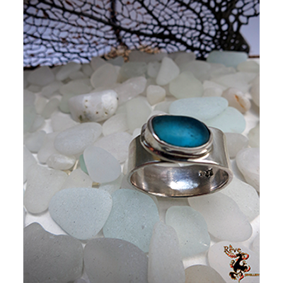 Cyan Blue Sea Glass Ring