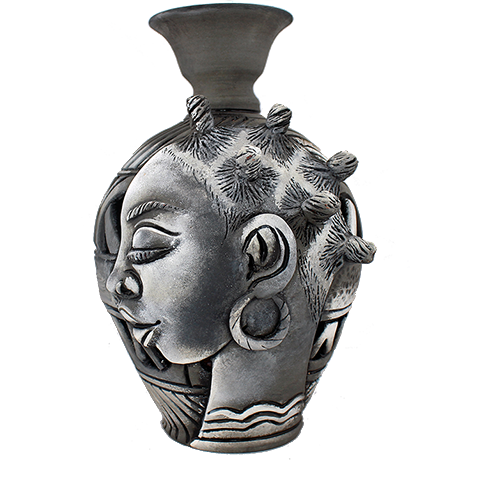 3D Bumpy Head Vase Series —  Grey Narrow Neck
