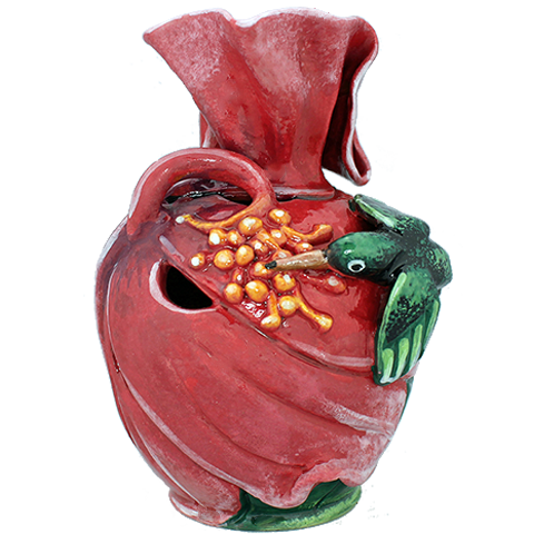 3D Doctor Bird and Hibiscus Vase