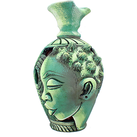 3D Bumpy Head Vase Series — Green Twisted Neck