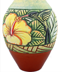Hibiscus and Doctor Bird Vase