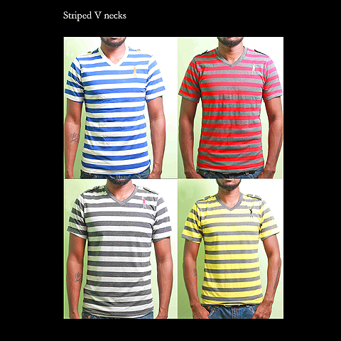 Striped V-Neck Tees