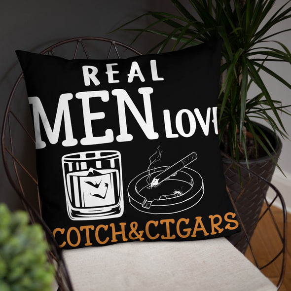 Real Men Love Scotch And Cigars - Black Pillow - real men t-shirts, Men funny T-shirts, Men sport & fitness Tshirts, Men hoodies & sweats