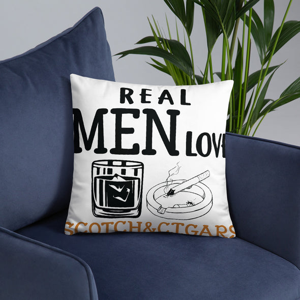 Real Men Love Scotch And Cigars - White Pillow - real men t-shirts, Men funny T-shirts, Men sport & fitness Tshirts, Men hoodies & sweats