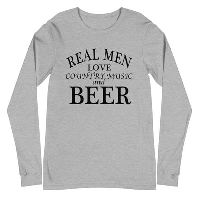 Real Men Love Country Music And Beer - Long Sleeve Tee - real men t-shirts, Men funny T-shirts, Men sport & fitness Tshirts, Men hoodies & sweats
