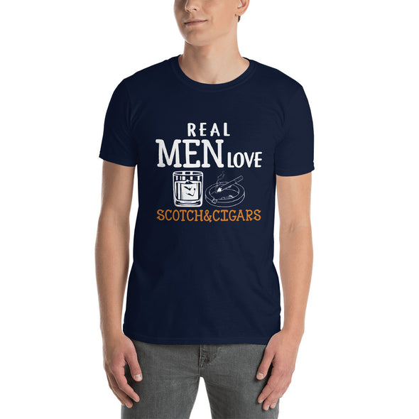 Real Men Love Scotch And Cigars Orange - T-Shirt - real men t-shirts, Men funny T-shirts, Men sport & fitness Tshirts, Men hoodies & sweats