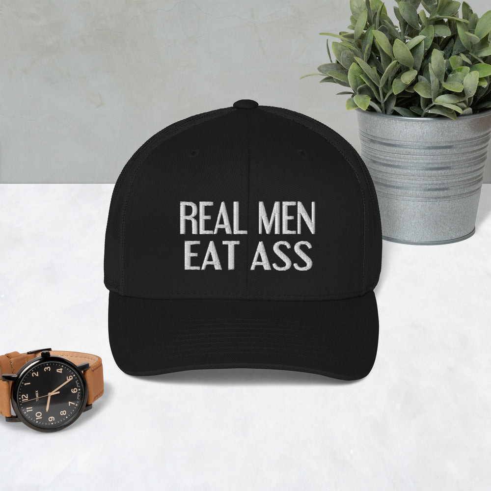 Real Men Eat Ass  Mesh Trucker Cap, funny cap, offensive mesh cap - real men t-shirts, Men funny T-shirts, Men sport & fitness Tshirts, Men hoodies & sweats