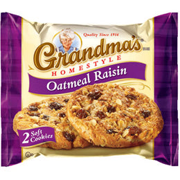 Grandma's Homestyle Oatmeal Raisin 2-Pack Cookies (Case of 60 Packs)