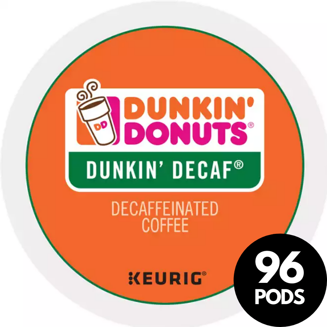 Green Mountain Coffee Roasters Dunkin Donuts Decaf Coffee KCups (Case of 96)