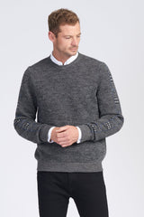 Alpaca fibre Houndstooth Strip Crew Neck Jumper