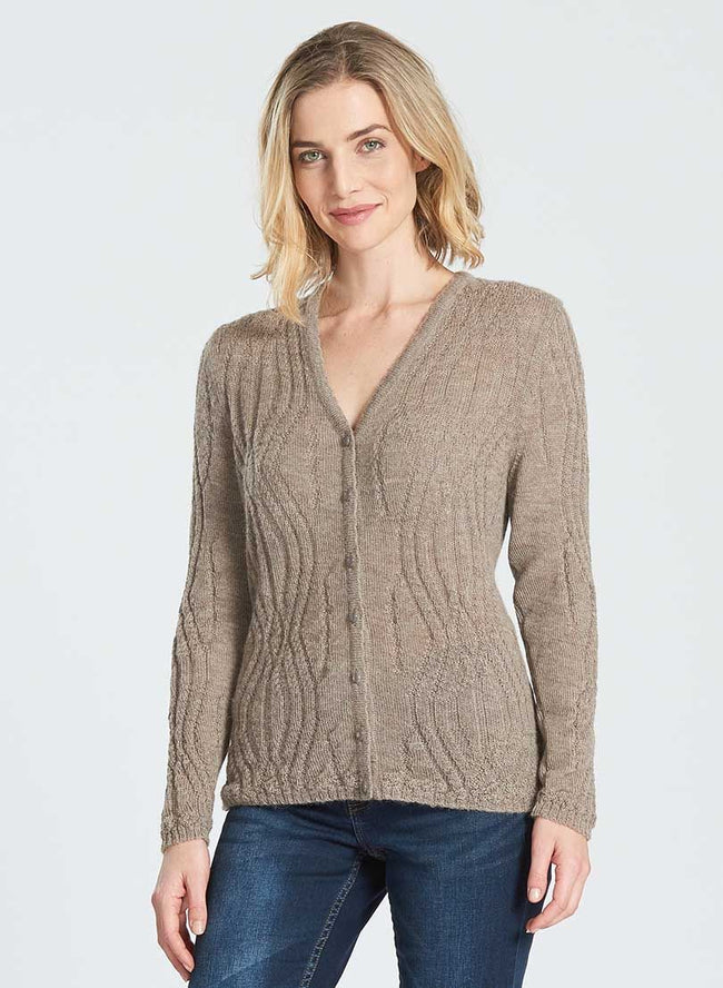 Wavy Pattern Cardigan - Wild Wool Gallery