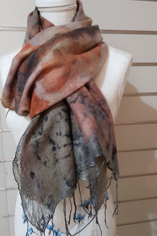 Alpaca Silk Scarf - Autumn Strong