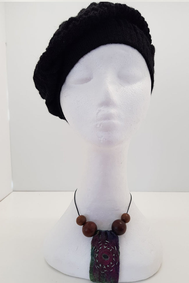 New Zealand made Alpaca Beret - Black