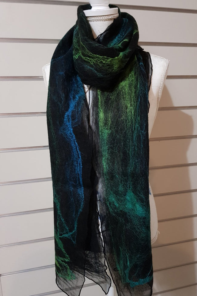Narrow Nuno Felted Alpaca Silk Scarves - Blue Green
