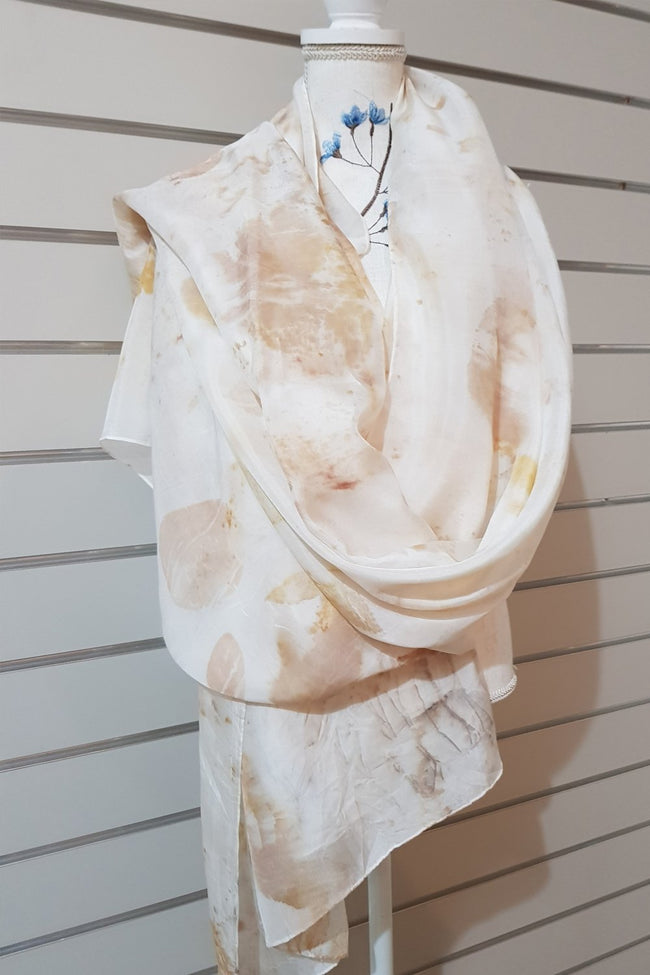 Eco Print Paj Silk Scarves - Blush
