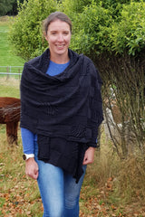 Kate wearing the Charcoal Black Royal Alpaca and Merino Textured Wrap
