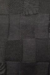 Close up of the pattern of the Charcoal Black Royal Alpaca and Merino Textured Wrap
