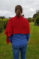 The back of the Chilli Royal Alpaca and Merino Textured Wrap