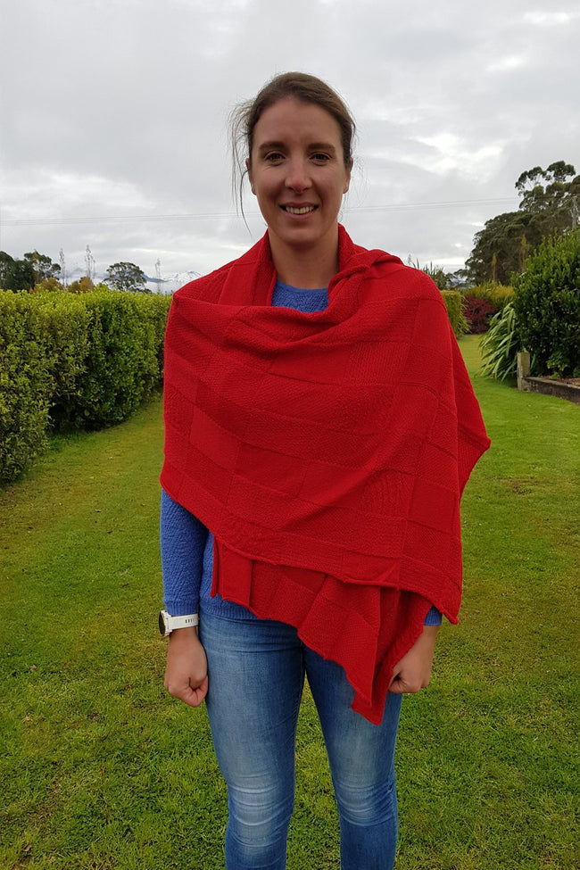 Kate wearing the Chilli Royal Alpaca and Merino Textured Wrap