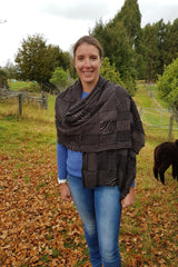 Kate wearing the Cinamon Black Royal Alpaca and Merino Textured Wrap