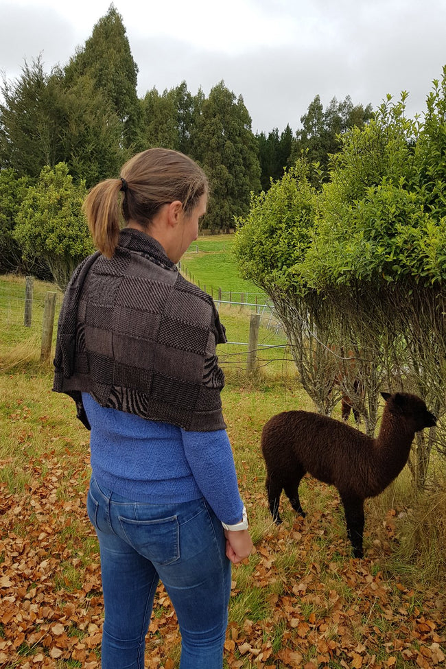 The back of the Cinamon Black Royal Alpaca and Merino Textured Wrap