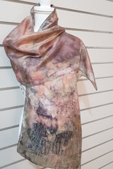 Eco Print Paj Silk Scarves - Cool