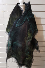 Paj Nuno Felted Alpaca Silk Coloured Scarf - Cool Tones