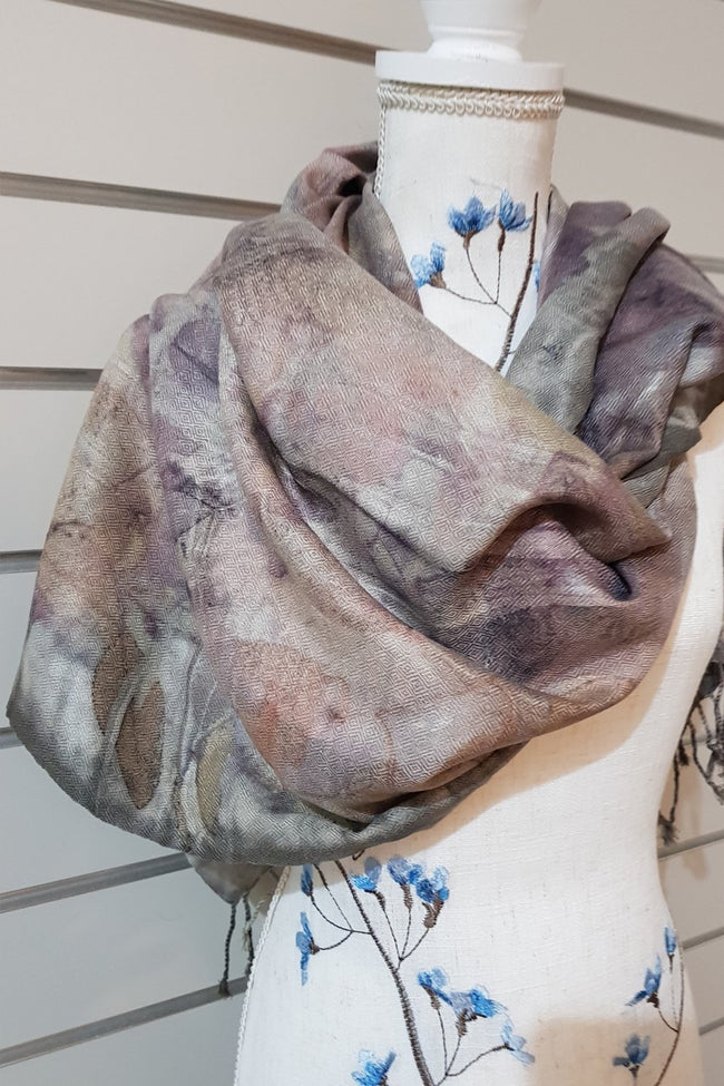 Eco Print Silk Scarves - Cool