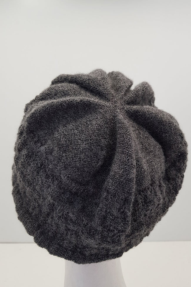 New Zealand made Alpaca Beret - Dark Grey