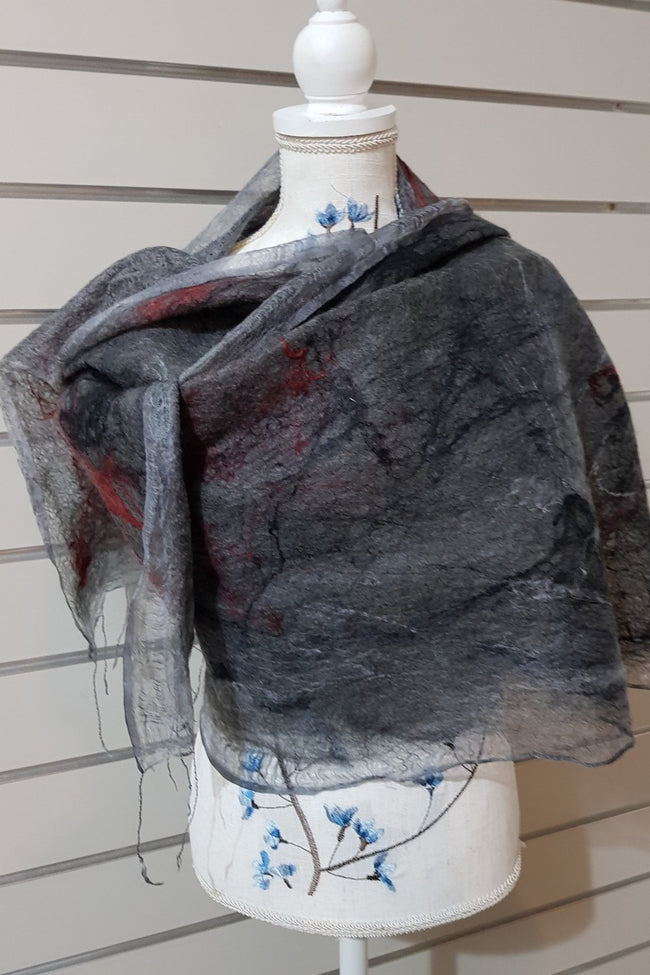 Paj Nuno Felted Alpaca Silk Coloured Scarf - Dark Grey and Red