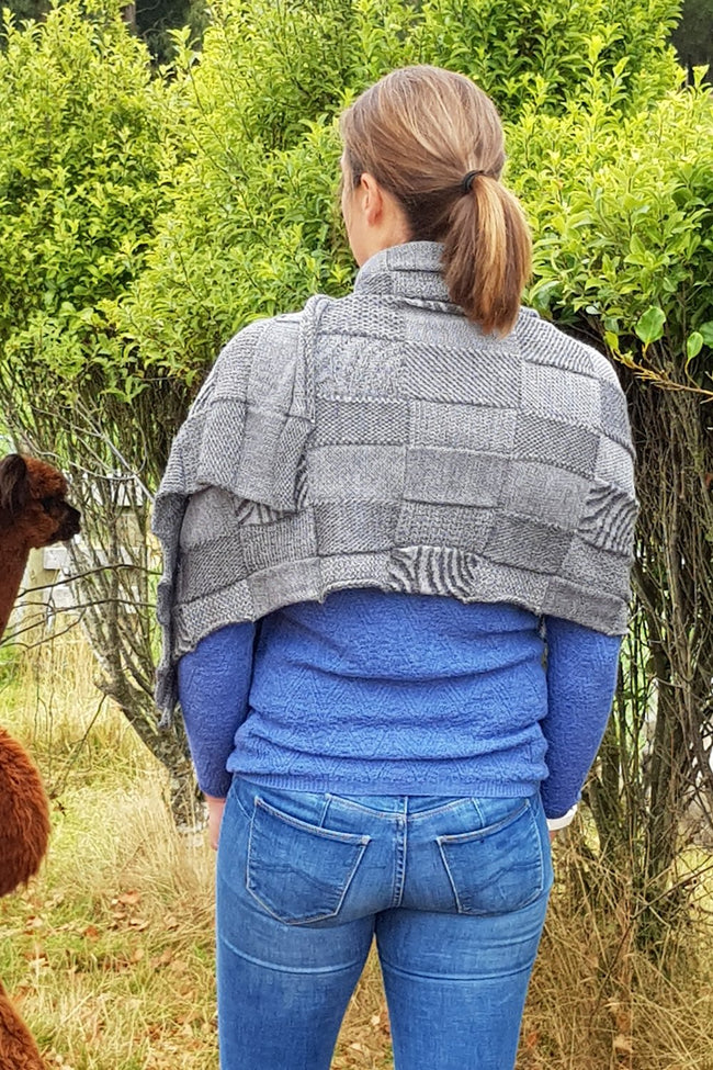 The back of the Dark Grey Charcoal Royal Alpaca and Merino Textured Wrap