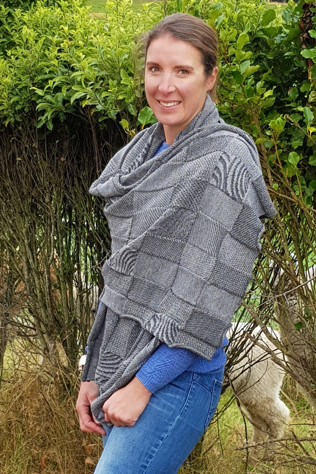 Kate wearing the Dark Grey Charcoal Royal Alpaca and Merino Textured Wrap