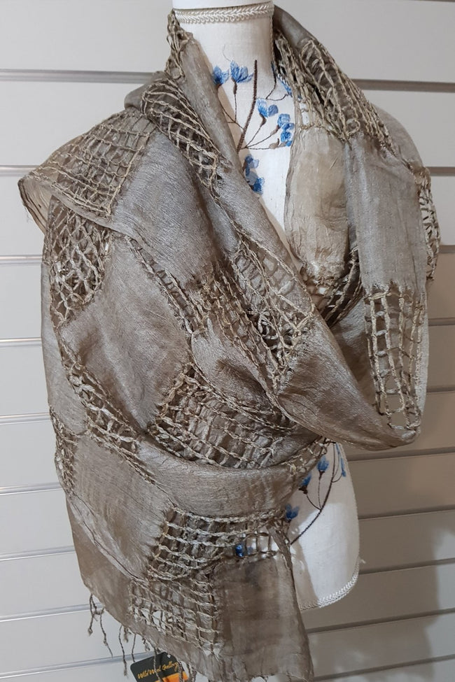 Hand Woven Eco Print Silk Scarves - Dark Tan