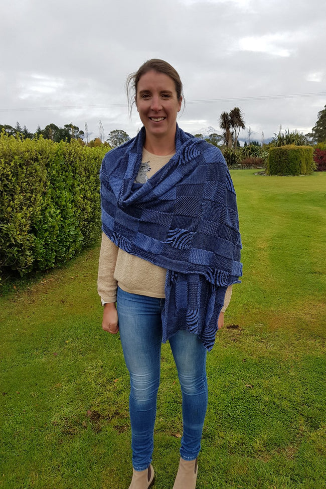 Kate wearing the lovely denim black Royal Alpaca and Merino Textured Wrap
