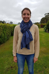 Kate wearing the Denim Black Royal Alpaca and Merino Textured Wrap