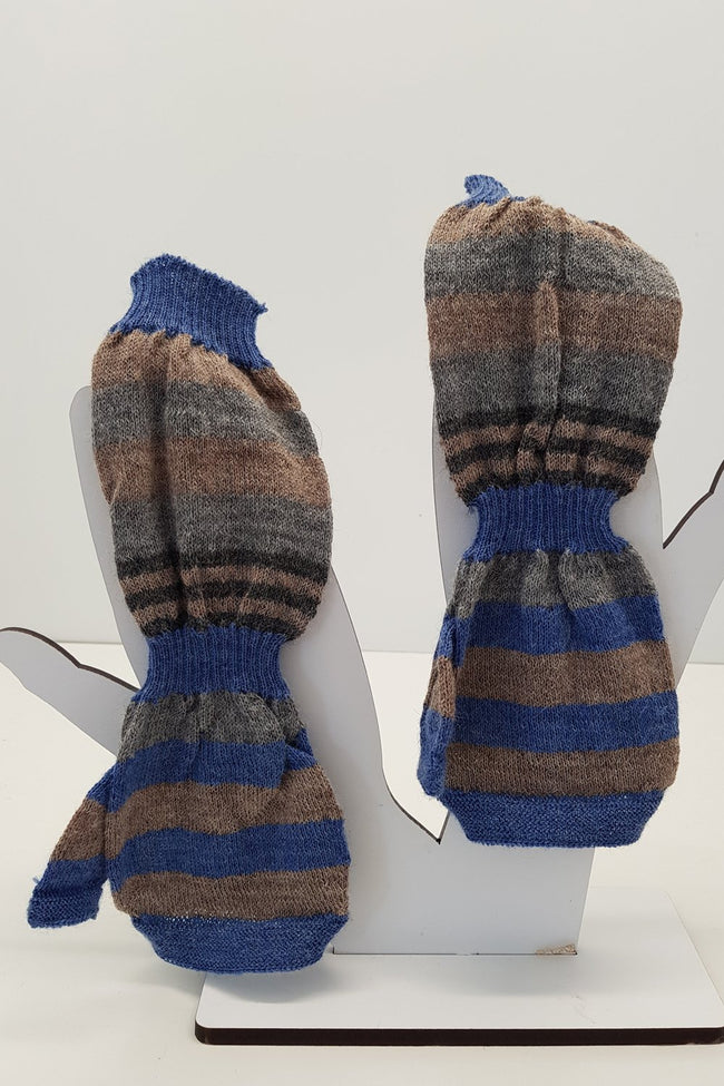 NZ Made Alpaca Handwarmers - Denim Stripe