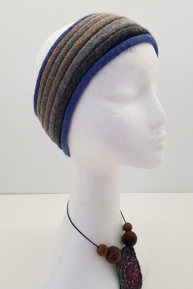 New Zealand made Alpaca Headbands - Denim Stripe