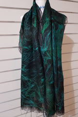 Paj Nuno Felted Alpaca Silk Coloured Scarf - Emerald