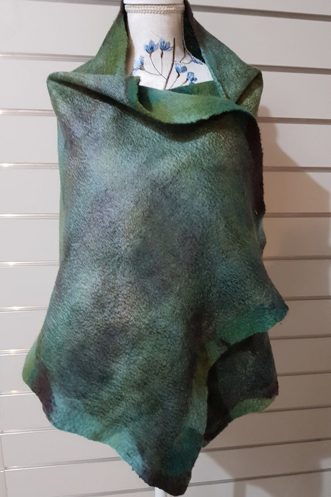Merino Silk Mesh Wraps - Greens