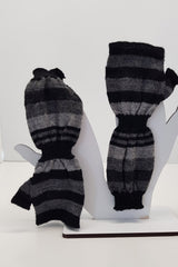 NZ Made Alpaca Handwarmers - Grey Stripe