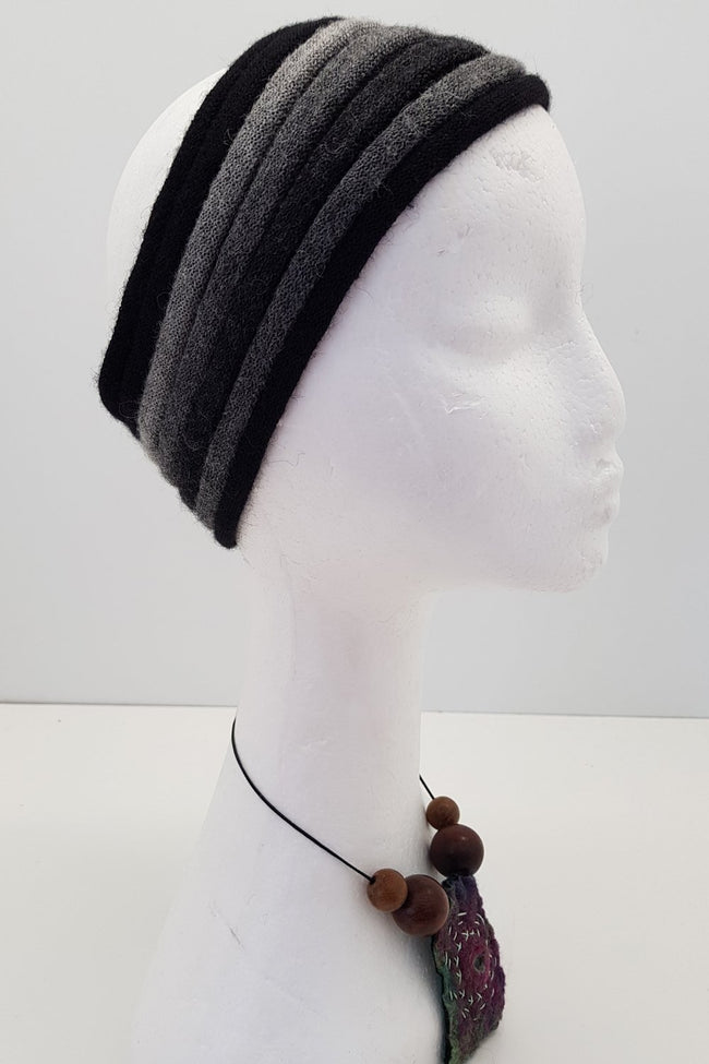 New Zealand made Alpaca Headbands - Grey Stripe