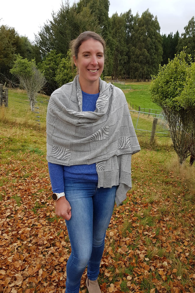 Kate wearing the Light Dark Grey Royal Alpaca and Merino Textured Wrap