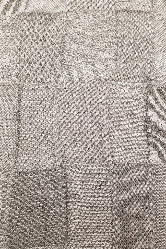 Close up of the pattern of the Light Dark Grey Royal Alpaca and Merino Textured Wrap