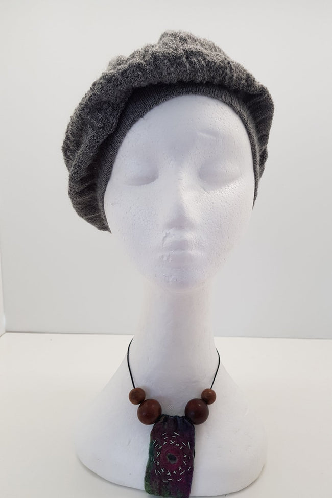 New Zealand made Alpaca Beret - Light Grey