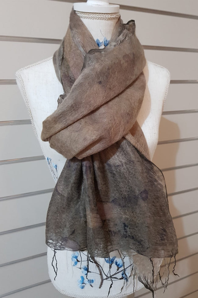 Alpaca Silk Scarf - Light Tan Botanical