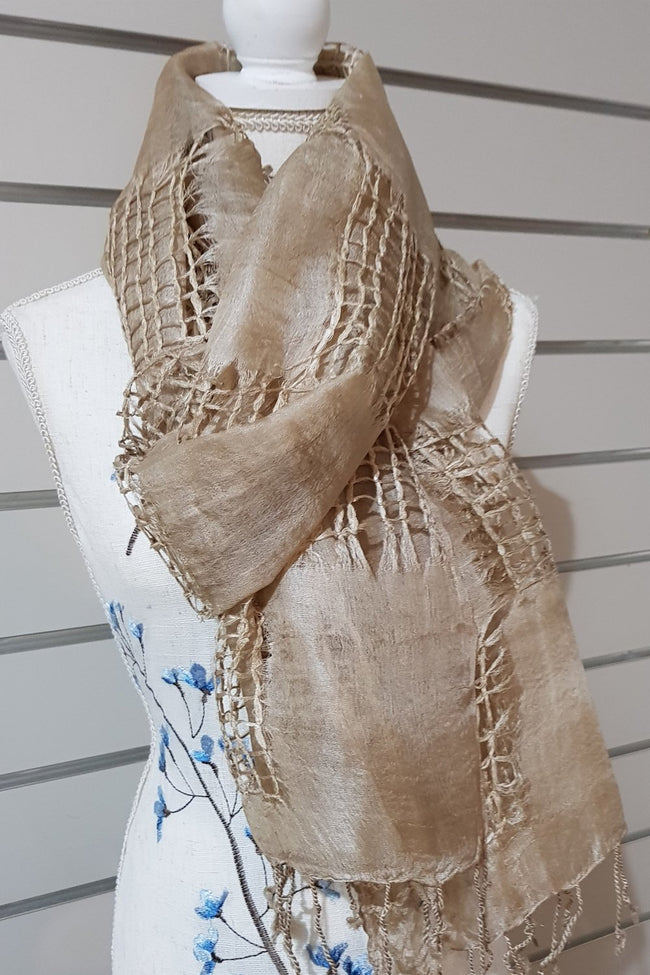 Hand Woven Eco Print Silk Scarves - Light Tan