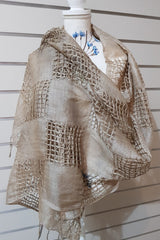 Hand Woven Eco Print Silk Scarves - Medium Tan