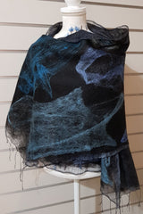 Paj Nuno Felted Alpaca Silk Coloured Scarf - Moody Blues